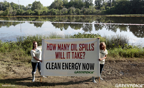 Greenpeace Banner at Kalamazoo River Oil Spill